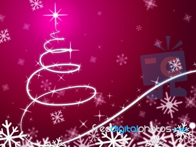 pink christmas tree background means snowing and freezing