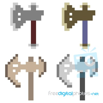 Pixel Art Axe Stock Image Royalty Free Image Id 100427669