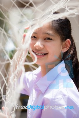 0b674f407 Portrait Of Thai High School Student Uniform Teen Beautiful Girl Happy And  Relax Stock Photo