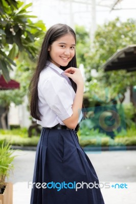 89fd251a5 Portrait Of Thai High School Student Uniform Teen Beautiful Girl Happy And  Relax, Stock Photo