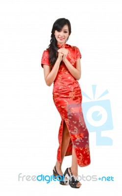 6eee5822a Pretty Girl With Cheongsam Wishing You A Happy Chinese New Year Stock Photo