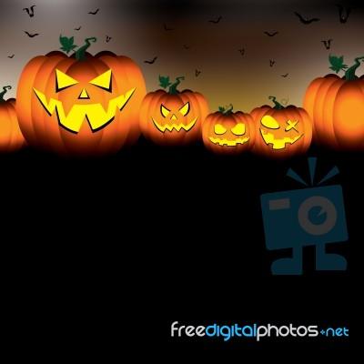 Pumpkin Set Scary Face Of Happy Halloween On Black Night Sky Background Stock...