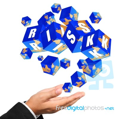Risk Management Cube Icons Streaming On Hand Stock Image