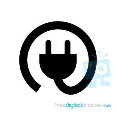 Rounded Plug Symbol Icon Illustration On White Back Stock Image