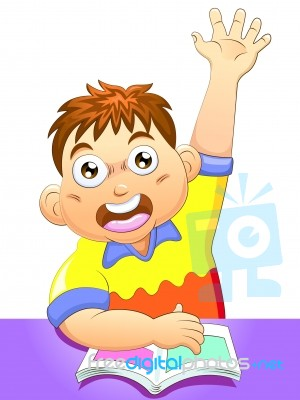 School Boy Eager To Answer Question Stock Image - Royalty ...