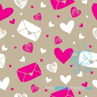 seamless pattern background of love letter and hearts stock image