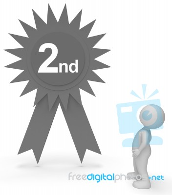 1f8fb59415 Second Place Rosette Represents Runner Up And Achievement 3d Ren… Stock  Image
