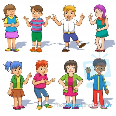 set of cute cartoon kids stock image - Cartoon Pictures For Kids