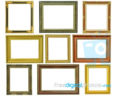 Set Of Vintage Gold Picture Frame Isolated Stock Photo Royalty