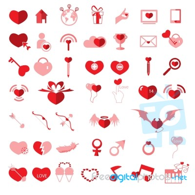 Set Valentine S Day Objects Love Icon Stock Image Royalty Free