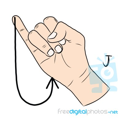 sign language and the alphabetthe letter j stock image