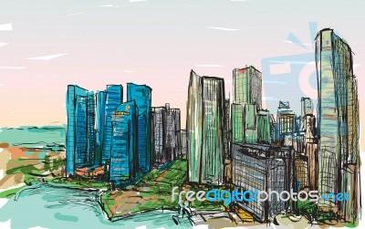 Sketch City Scape Of Singapore Skyline, Free Hand Draw