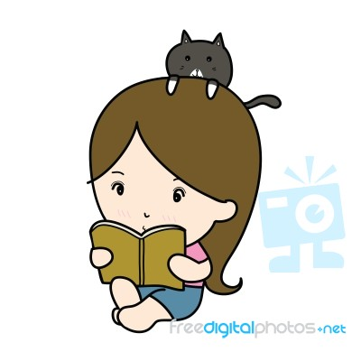 small girl reading book cartoon stock image royalty free image id
