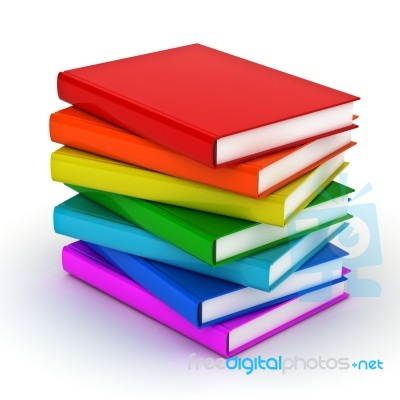 Stack Of Colorful Books Stock Image - Royalty Free Image ID 100169696