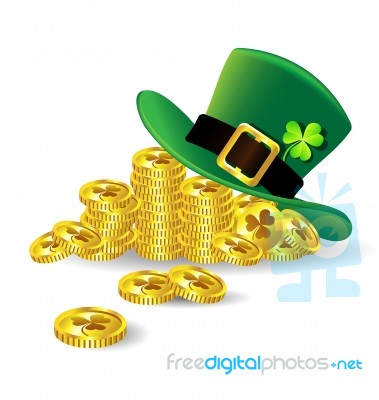 Stpatricks Day Hat With Shamrock On Gold Coin Stock Image