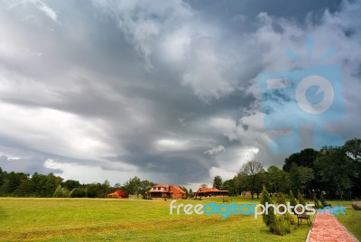 Summer Storm Landscape. Dramatic Cloudy Sky. Hurricane And Rain Stock Photo
