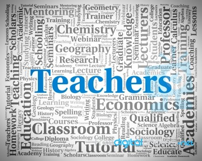 Teachers Word Indicates Give Lessons And Coaching Stock Image ...