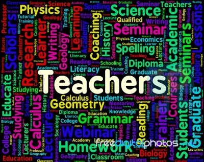 Teachers Word Means Give Lessons And Coach Stock Image - Royalty ...