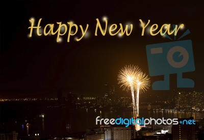text happy new year on background of fireworks night scene stock photo
