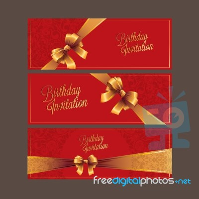 The Happy Birthday Card Red Color And Gold Ribbon Design Stock