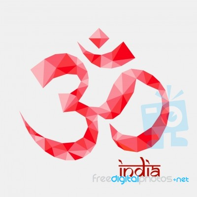 The Om Aum Red Color Symbol Of Hinduism Polygon Style Stock