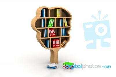 Tree Of Knowledge Bookshelf On White Background Stock Image