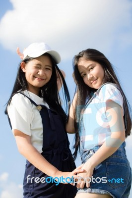 Two Asia Thai High School Student Best Friends Beautiful Girl Smile And Funny Stock Photo Royalty Free Image Id 100494404