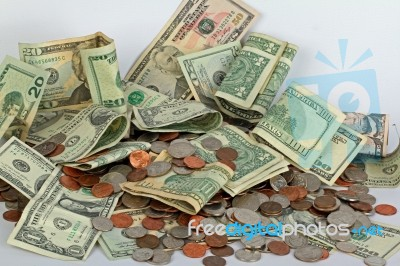 United States Cash And Coins Stock Photo