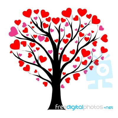 Valentine Tree With Love Heart Stock Image Royalty Free Image Id 100232166