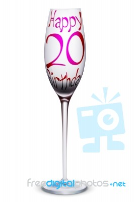 Wine Glass With Birthday Wishes Stock Image