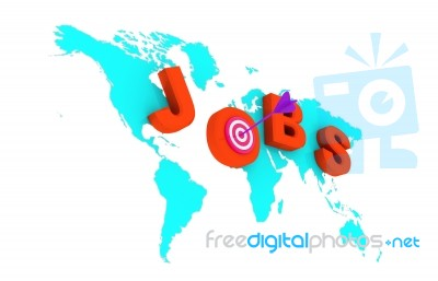 World Map With Jobs Target Stock Image Royalty Free Image ID 100231363