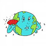 Earth Global Warming Drawing Color stock image